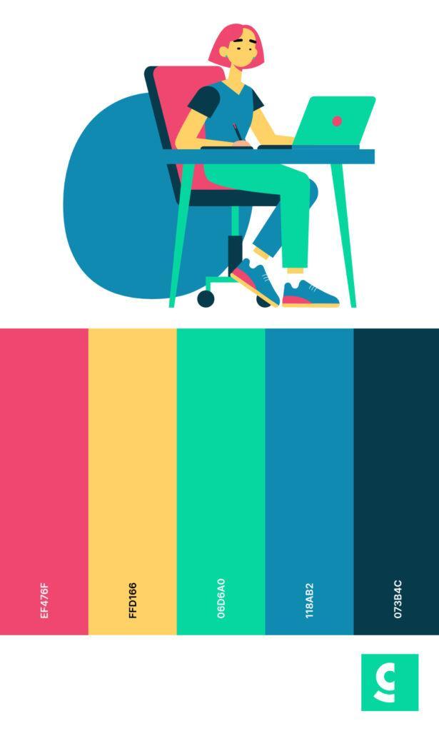 Attention-grabbing color palette